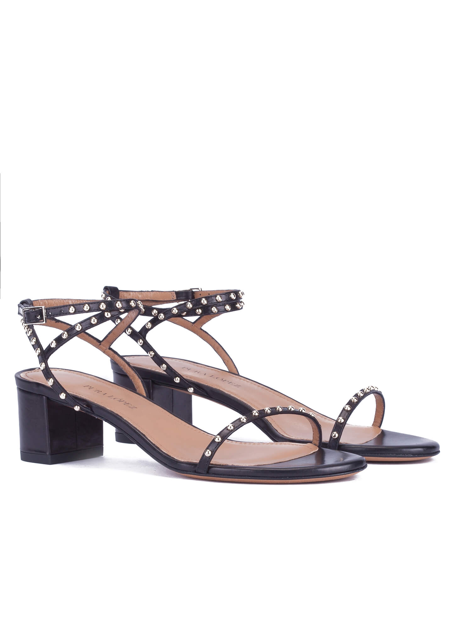 cae538e13dc Studded mid block heel sandals in black leather . PURA LOPEZ