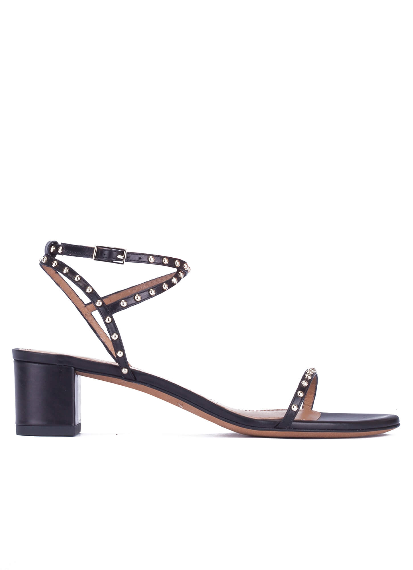 43a32802d Olmeneta sandals Pura López. Studded mid block heel sandals in black leather  ...