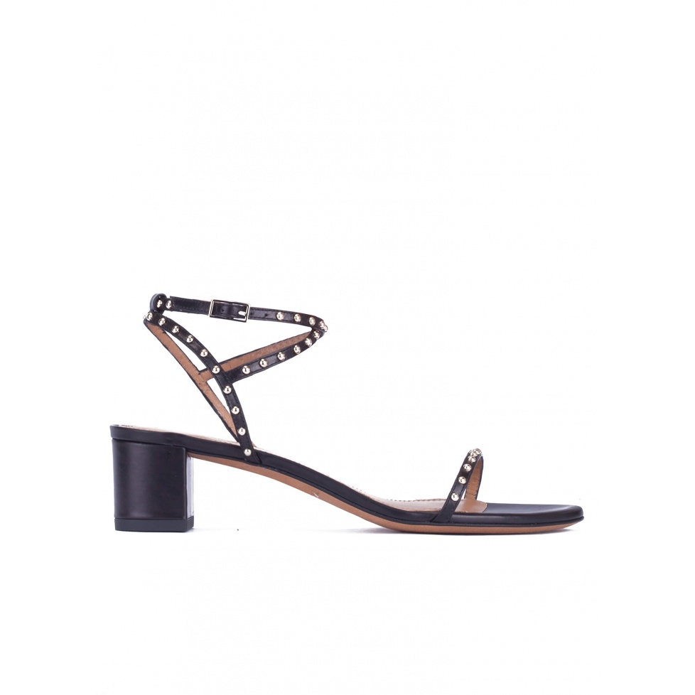 Studded mid block heel sandals in black leather