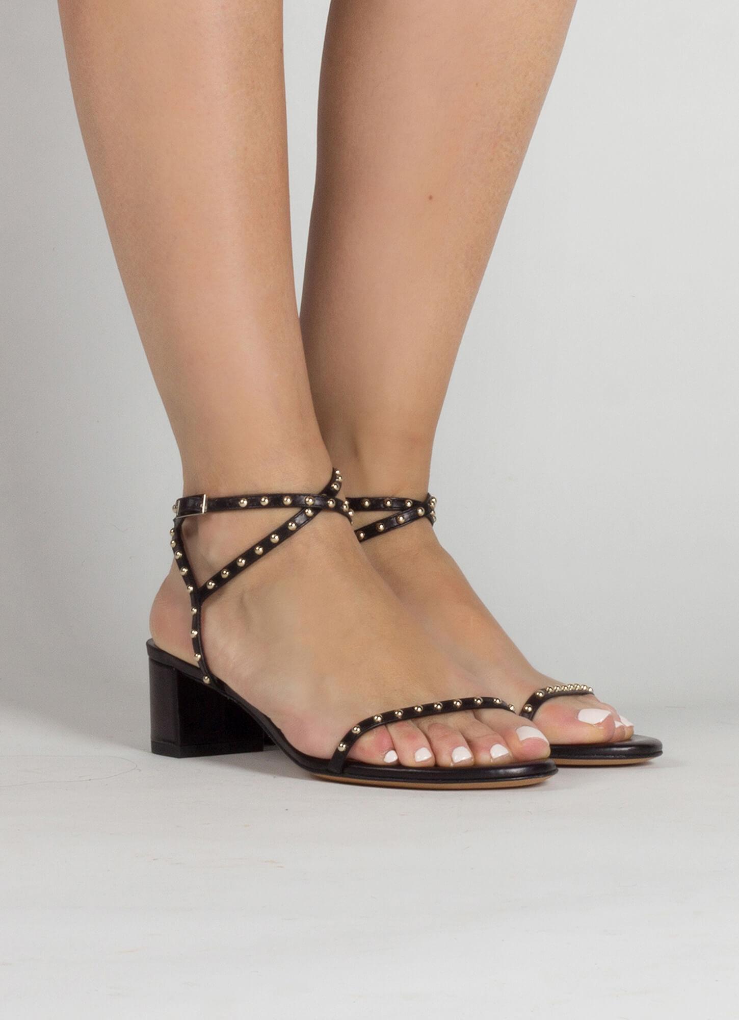 44a434926 Olmeneta sandals Pura López. Studded mid block heel sandals in black  leather Studded mid block heel sandals in black leather ...