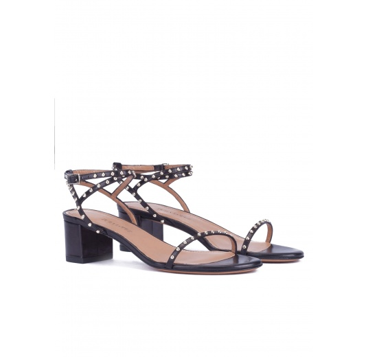 40e7f36f35c ... Studded mid block heel sandals in black leather Pura L pez