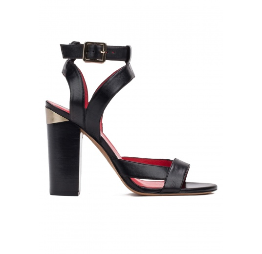 Strappy high heel sandals in black leather Pura L�pez