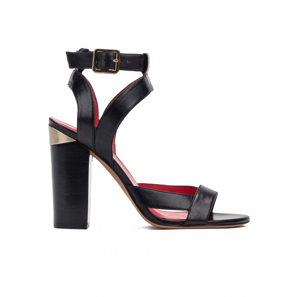 Strappy high heel sandals in black leather