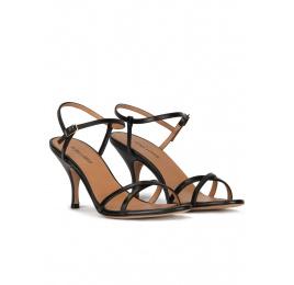 Sandales à talons moyens en cuir noir Pura López