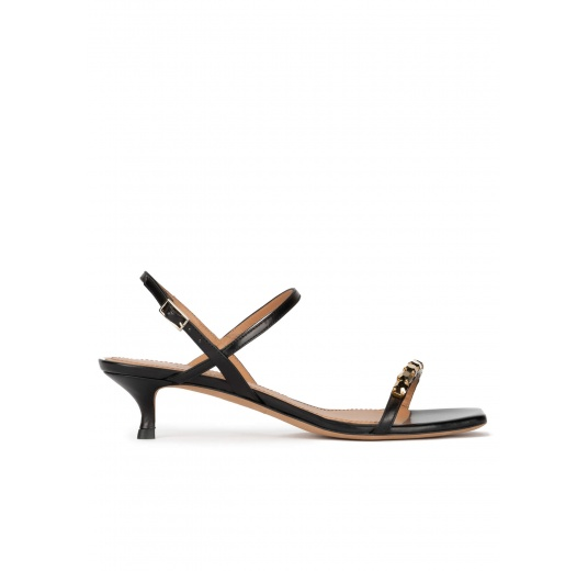 Crystal-embellished mid heel sandals in black leather Pura López