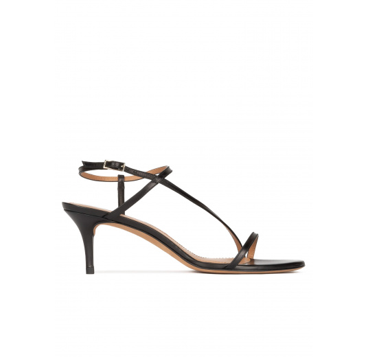 Strappy mid stiletto heel sandals in black leather Pura López