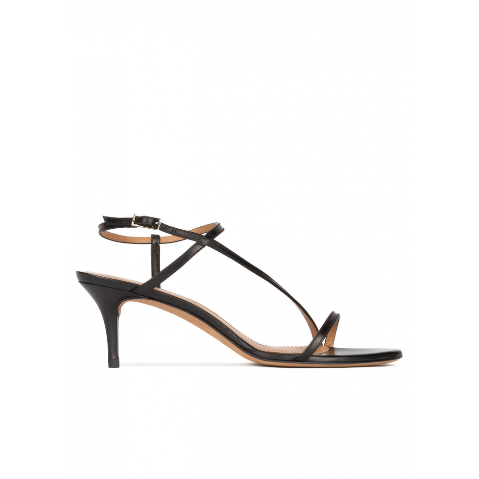 Strappy mid stiletto heel sandals in black leather