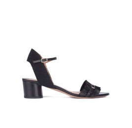 Black fringed mid block heel sandals Pura López