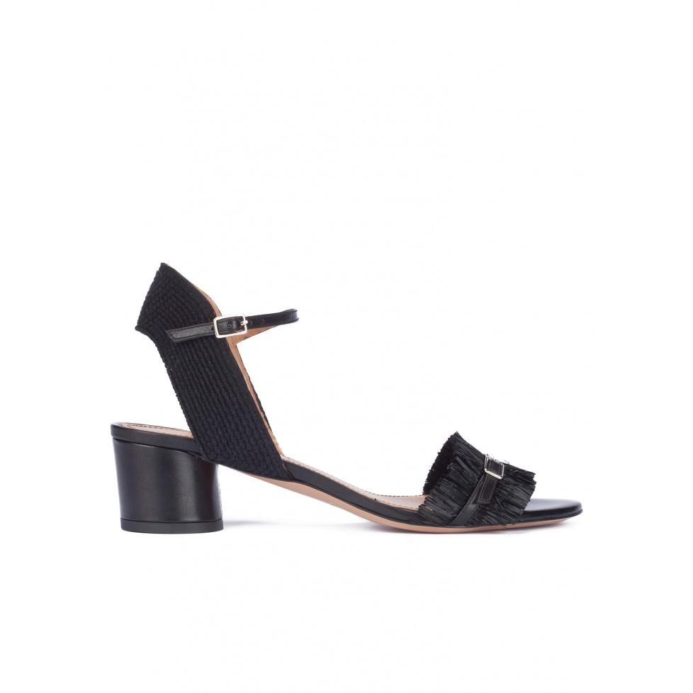 Black fringed mid block heel sandals