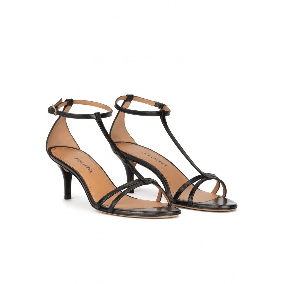 Black leather mid heel sandals with ankle strap