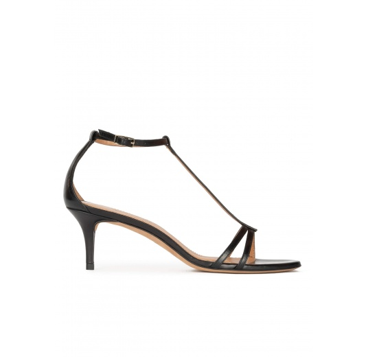 Black leather mid heel sandals with ankle strap Pura López