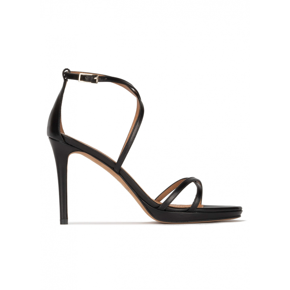 Black leather platform high heel sandals