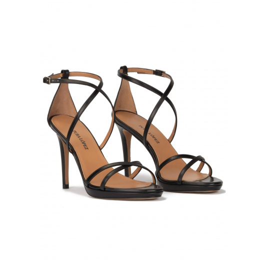 Black leather platform high heel sandals Pura López