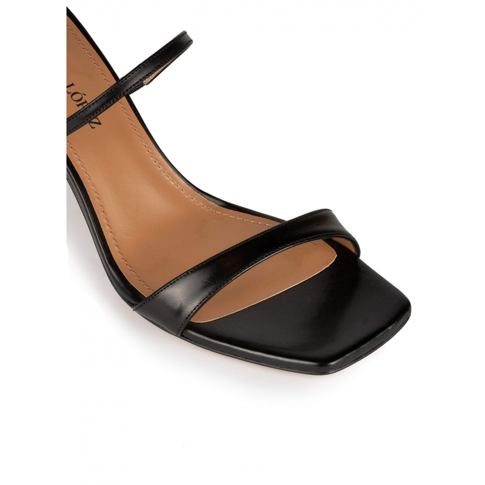 Black leather ankle strap mid heel sandals