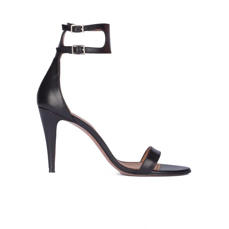 Black ankle strap high heel sandals