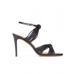 Knotted high-heeled sandals in black leather Pura López