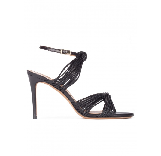 Knotted high-heeled sandals in black leather Pura L�pez
