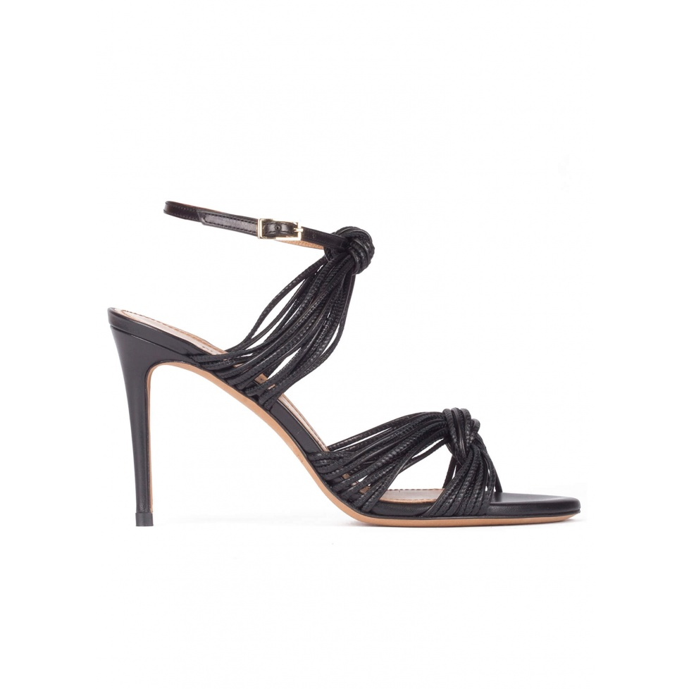 Knotted high-heeled sandals in black leather