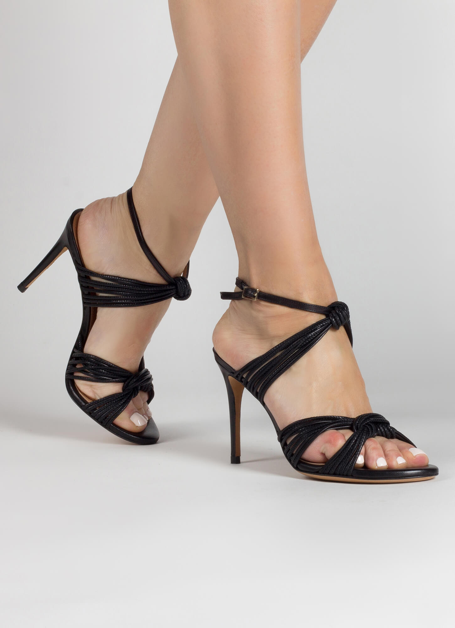 Knotted High Heeled Sandals In Black Leather Pura Lopez