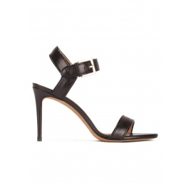 High stiletto heel sandals in black leather with patent piping Pura López