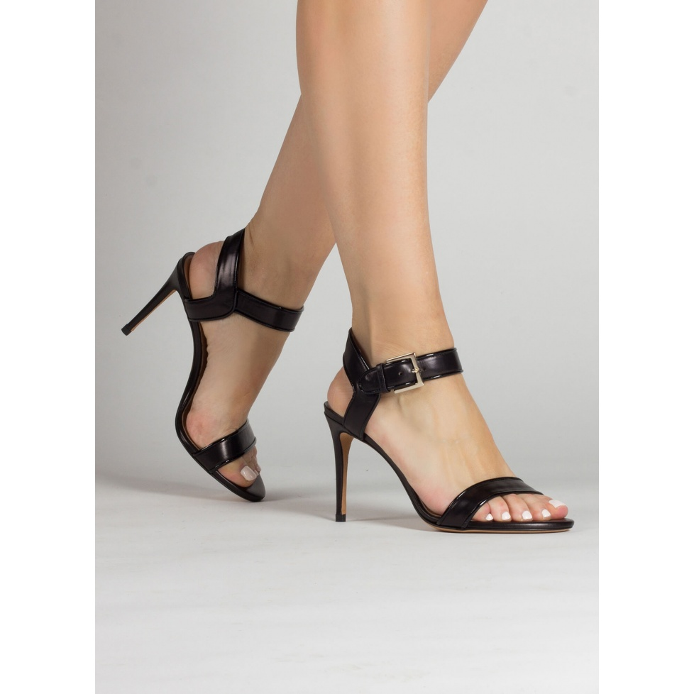 High stiletto heel sandals in black leather with patent