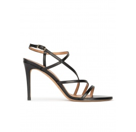 High stiletto heel sandals in black leather Pura López
