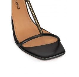 T-bar mid heel sandals in black leather Pura López