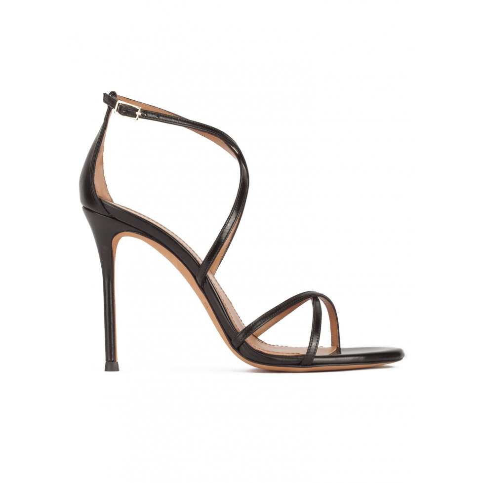 High heel sandals with crossed straps in black leather