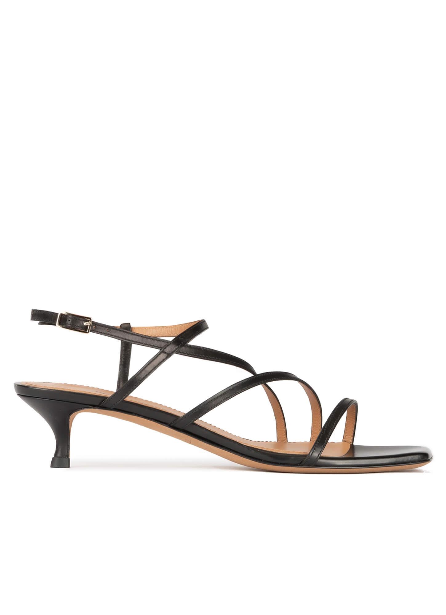 Strappy mid heel sandals in black
