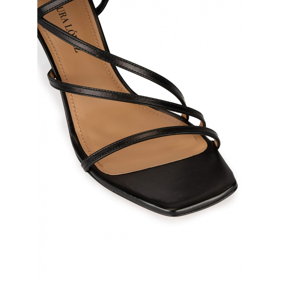 Strappy mid heel sandals in black leather