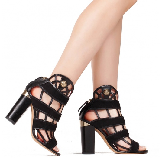 High block heel cage detailed sandals in black suede and leather Pura L�pez