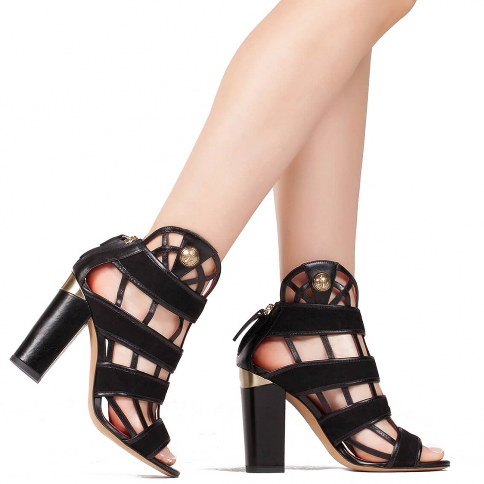 Block heel cage sandals in black suede - shoe store Pura Lopez