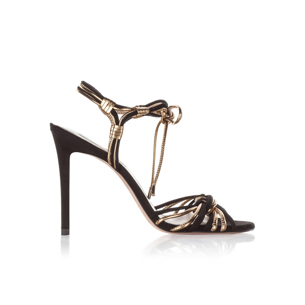 High heel sandals in black suede and gold leather