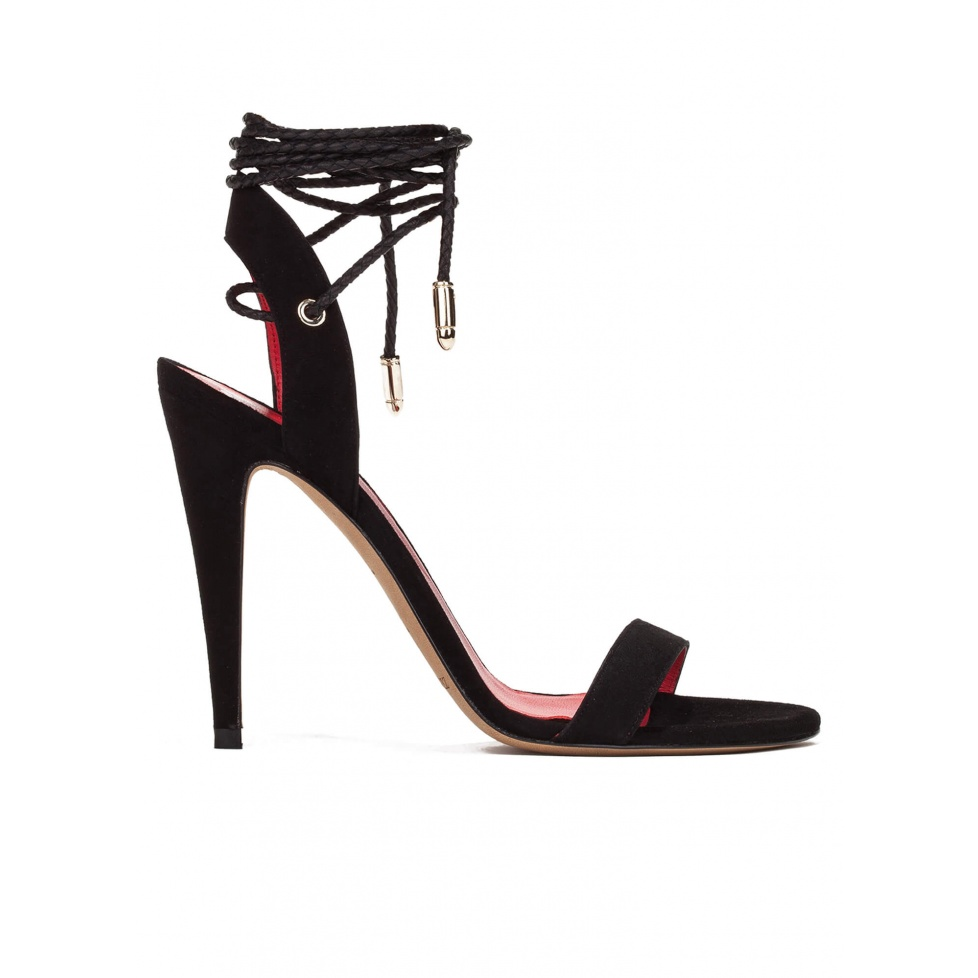 Lace-up high heel sandals in black suede