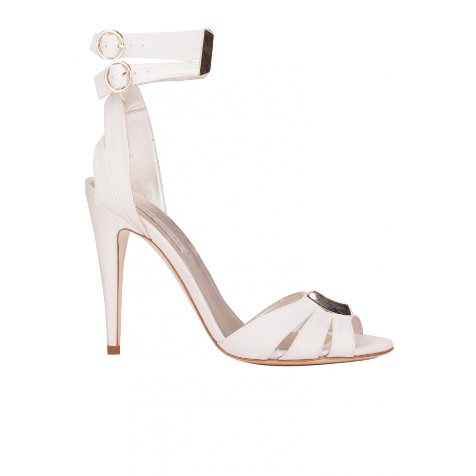 Ankle strap high heel bridal sandals in offwhite satin