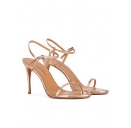 Minimalist design high heel sandals in rose gold leather Pura López