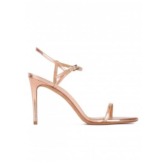 Minimalist design high heel sandals in rose gold leather Pura L�pez