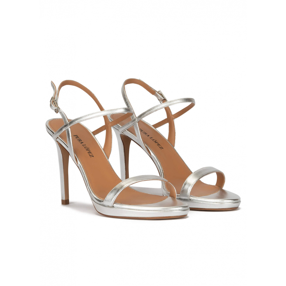Silver leather platform high heel sandals