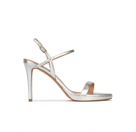Silver leather platform high heel sandals Pura López