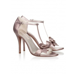 High heel sandals in metallic leather Pura López