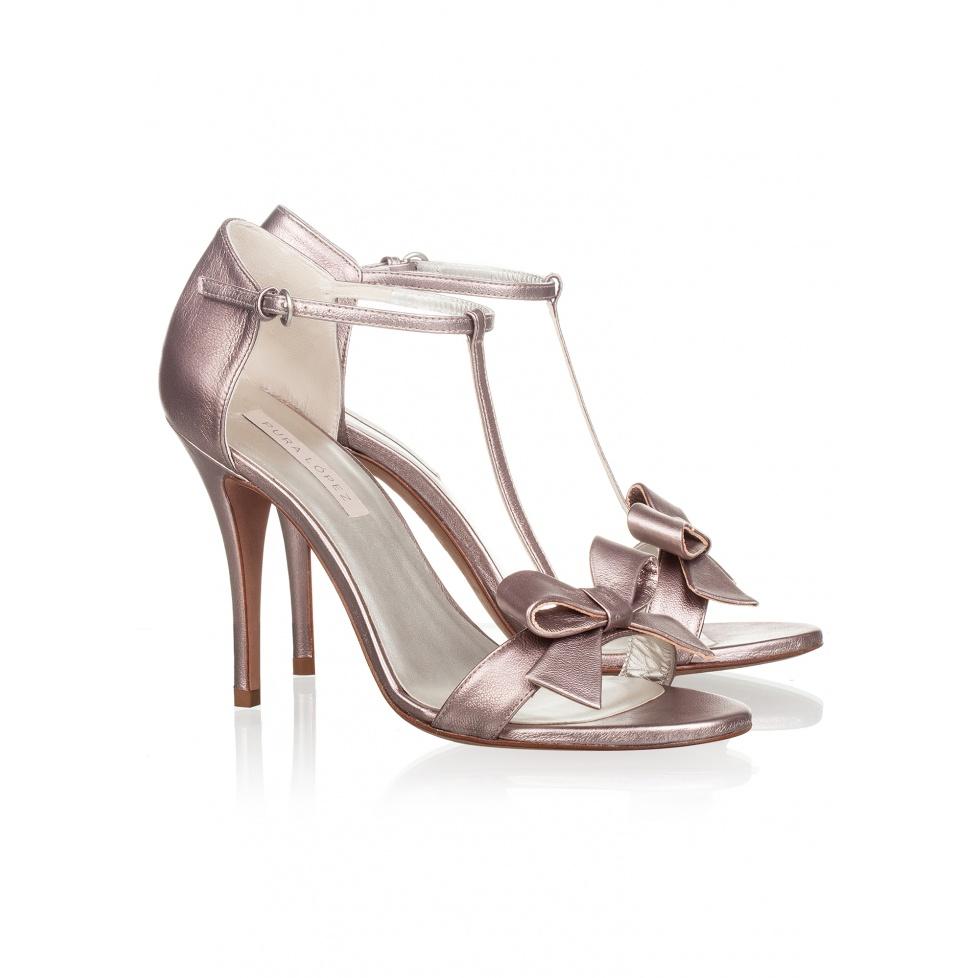 Sandalia de tacón alto en piel metalizada-tienda oficial Pura López