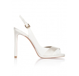 High heel bridal sandals in offwhite satin Pura López