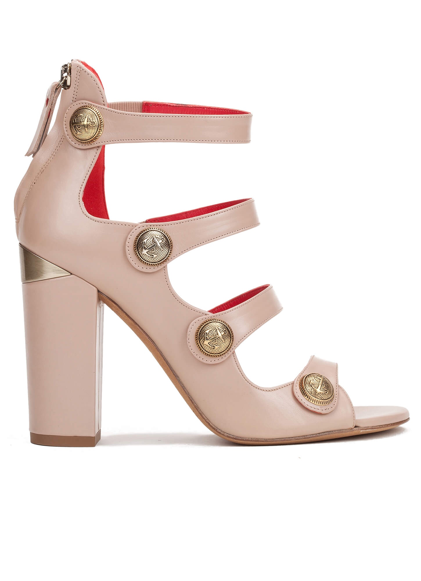 98e08fce169b High block heel sandals in nude leather with metallic buttons High heel  sandals with metal buttons - online shoe store Pura Lopez Kimena Pura López  ...