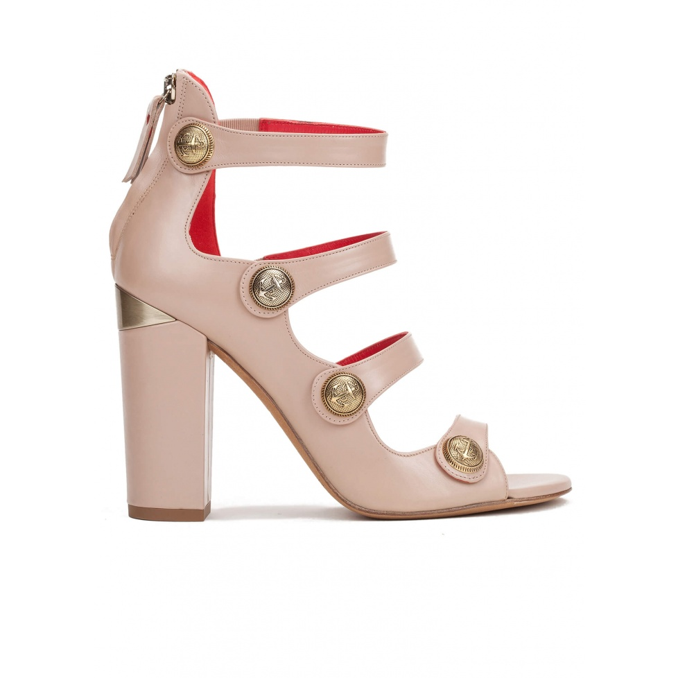 High block heel sandals in nude leather with metallic buttons