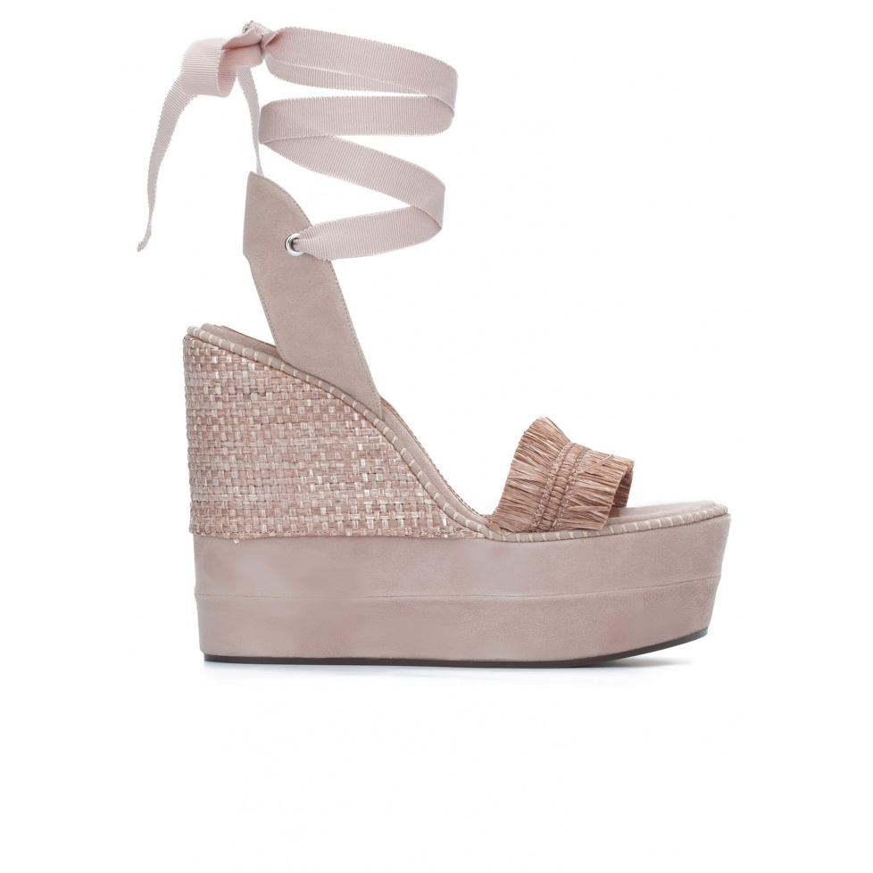 Nude fringed high wedge sandals