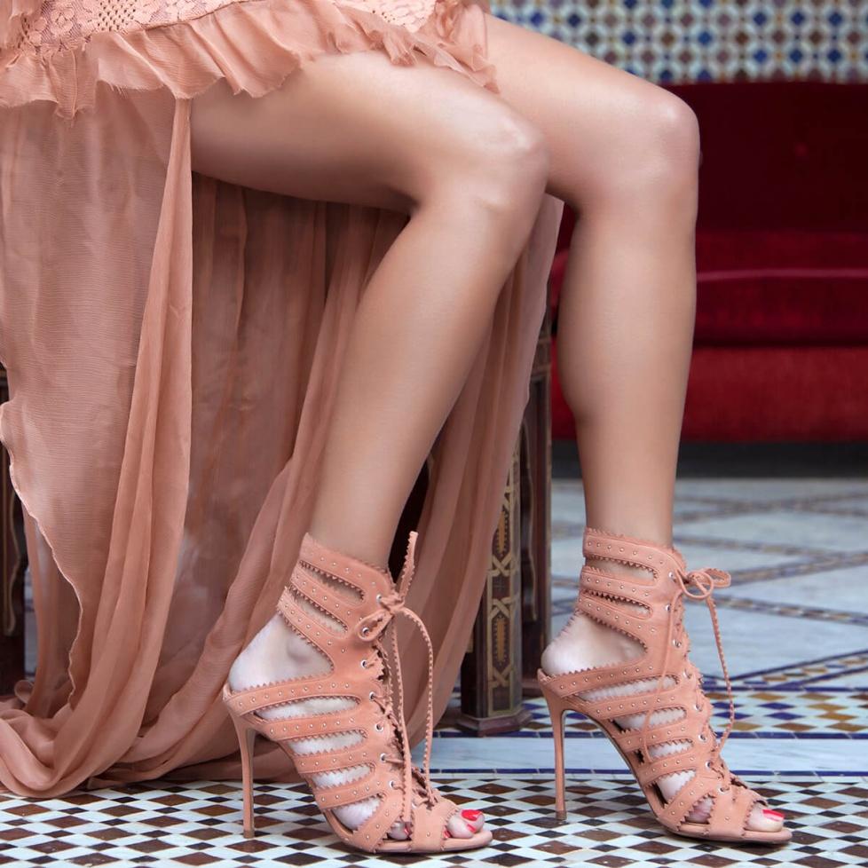 High heel sandals in old rose suede - online shoe store Pura Lopez