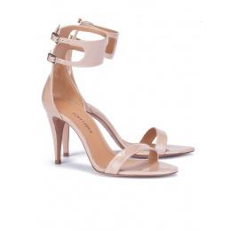 Nude patent ankle strap heeled sandals Pura López