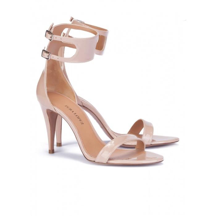 High heel sandals in nude patent - online shoe store Pura Lopez