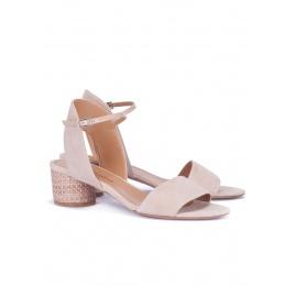 Nude mid block-heel sandals Pura López
