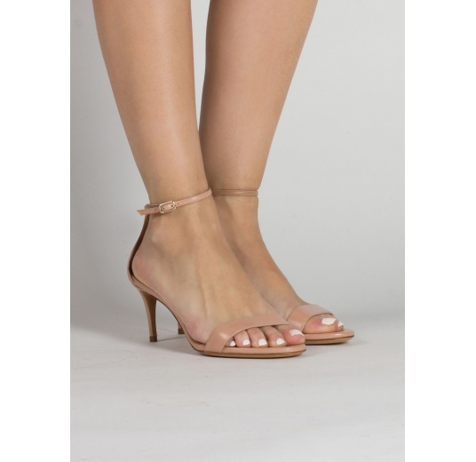 Ankle strap mid heel sandals in nude leather Pura L�pez